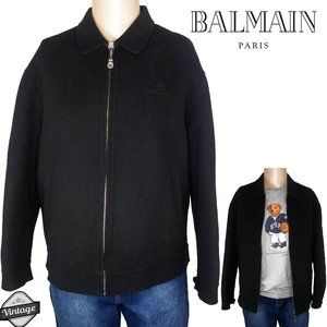 Vintage 90s Balmain Zip Up Wool Black Jacket Sz L